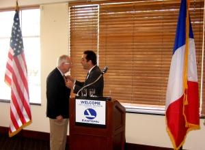 M. Masionneuve, the French Consul in Miami awarded the Legion d'honneur medal to George Lyall
